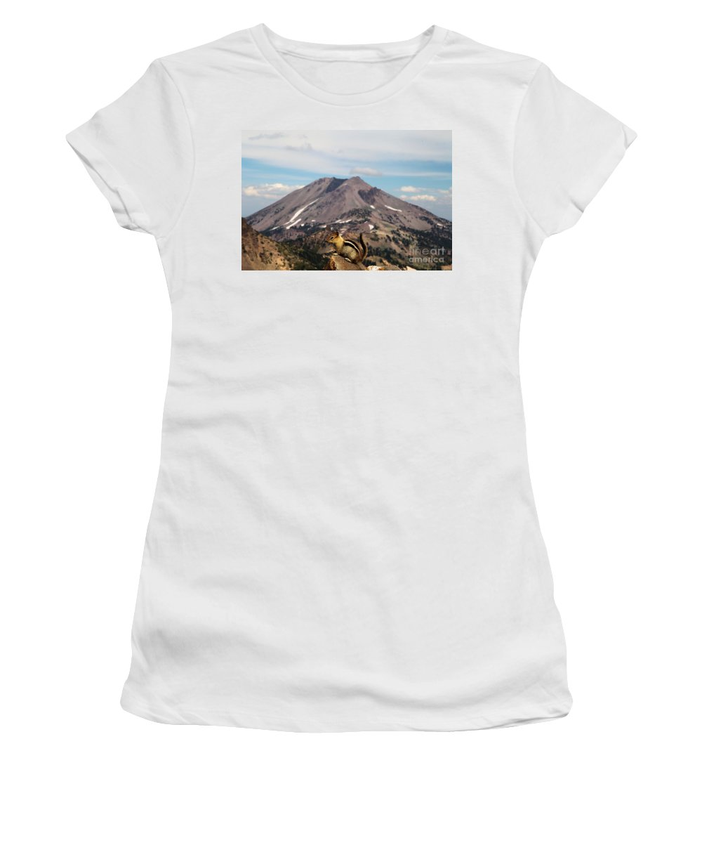 Lassen Volcanic National Park Women's T-Shirt (Athletic Fit) featuring the photograph On Top Of The World by Adam Jewell