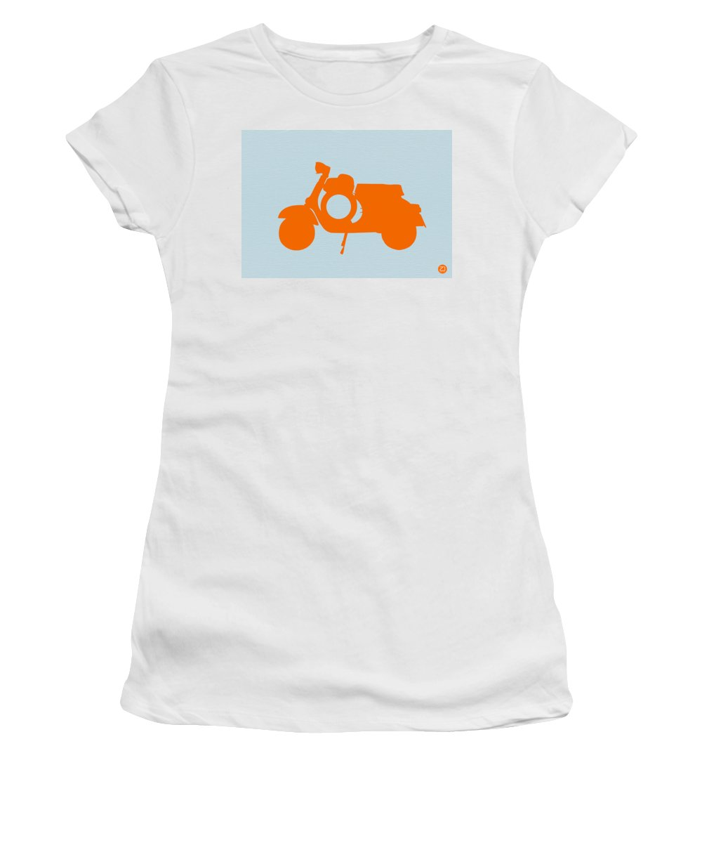 Scooter Women's T-Shirt featuring the photograph Orange Scooter by Naxart Studio