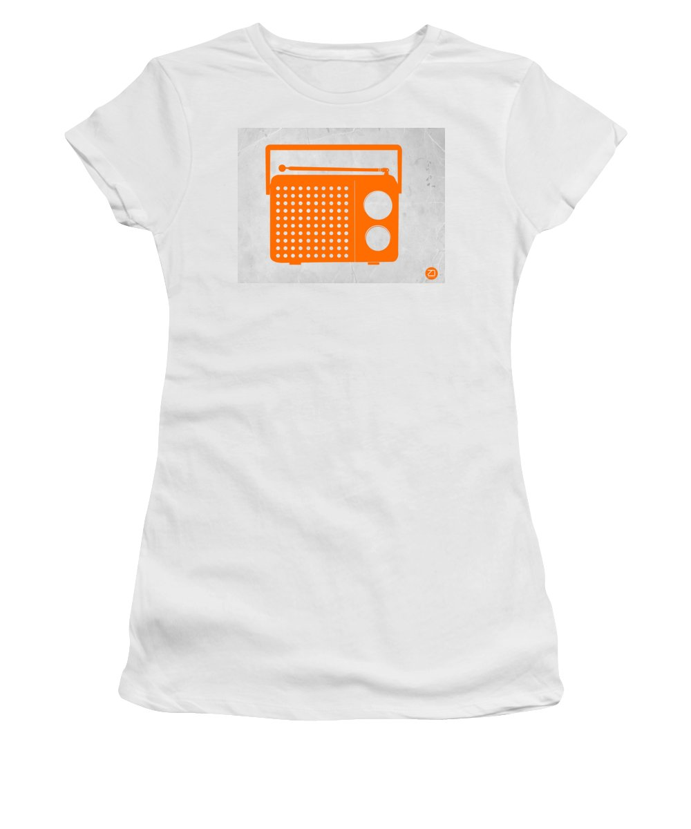 Kids Art Women's T-Shirt featuring the drawing Orange Transistor Radio by Naxart Studio