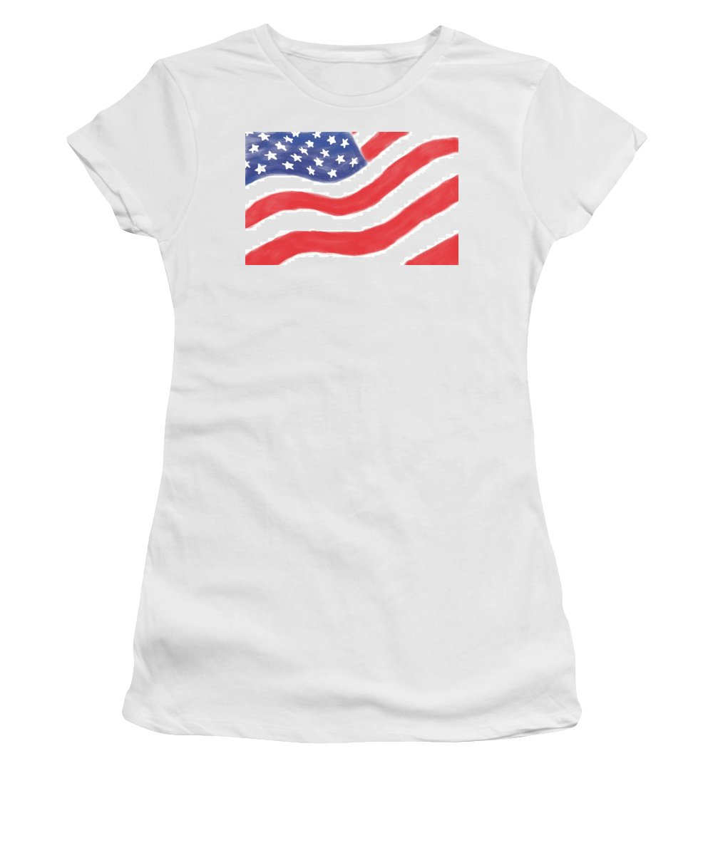 American Flag Women's T-Shirt (Athletic Fit) featuring the digital art Our Flag by Heidi Smith