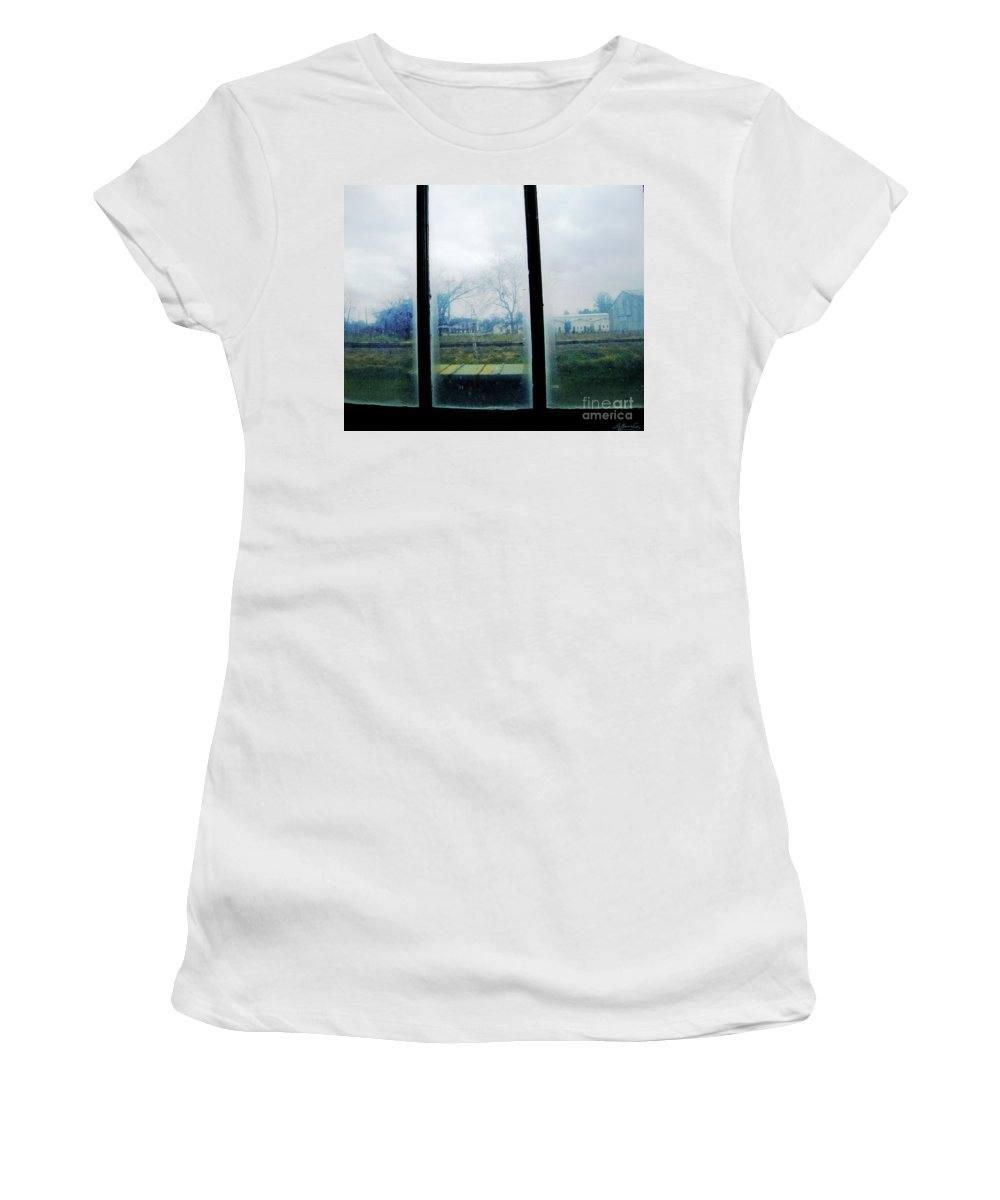Clarksdale Ms Women's T-Shirt (Athletic Fit) featuring the digital art Out The Back Window Of The Delta Blues Museum Clarksdale Ms by Lizi Beard-Ward