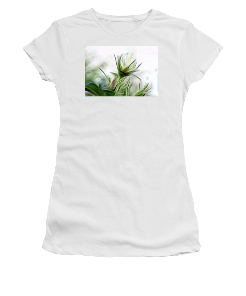 Painterly White Roses Women's T-Shirt (Athletic Fit) featuring the digital art Painterly White Roses by Barbara Griffin