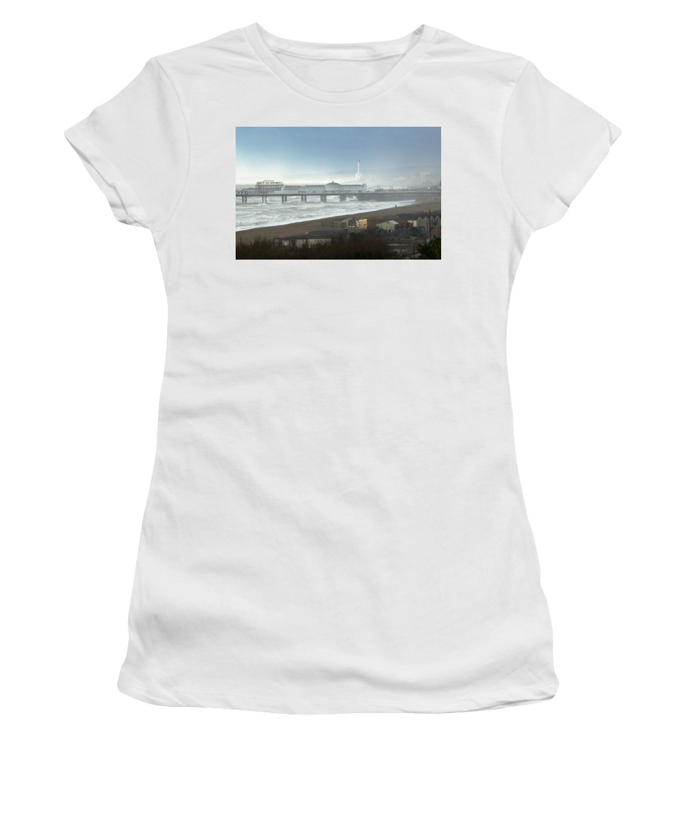 Color Image Women's T-Shirt (Athletic Fit) featuring the photograph Palace Pier And Shoreham Power Station by Axiom Photographic