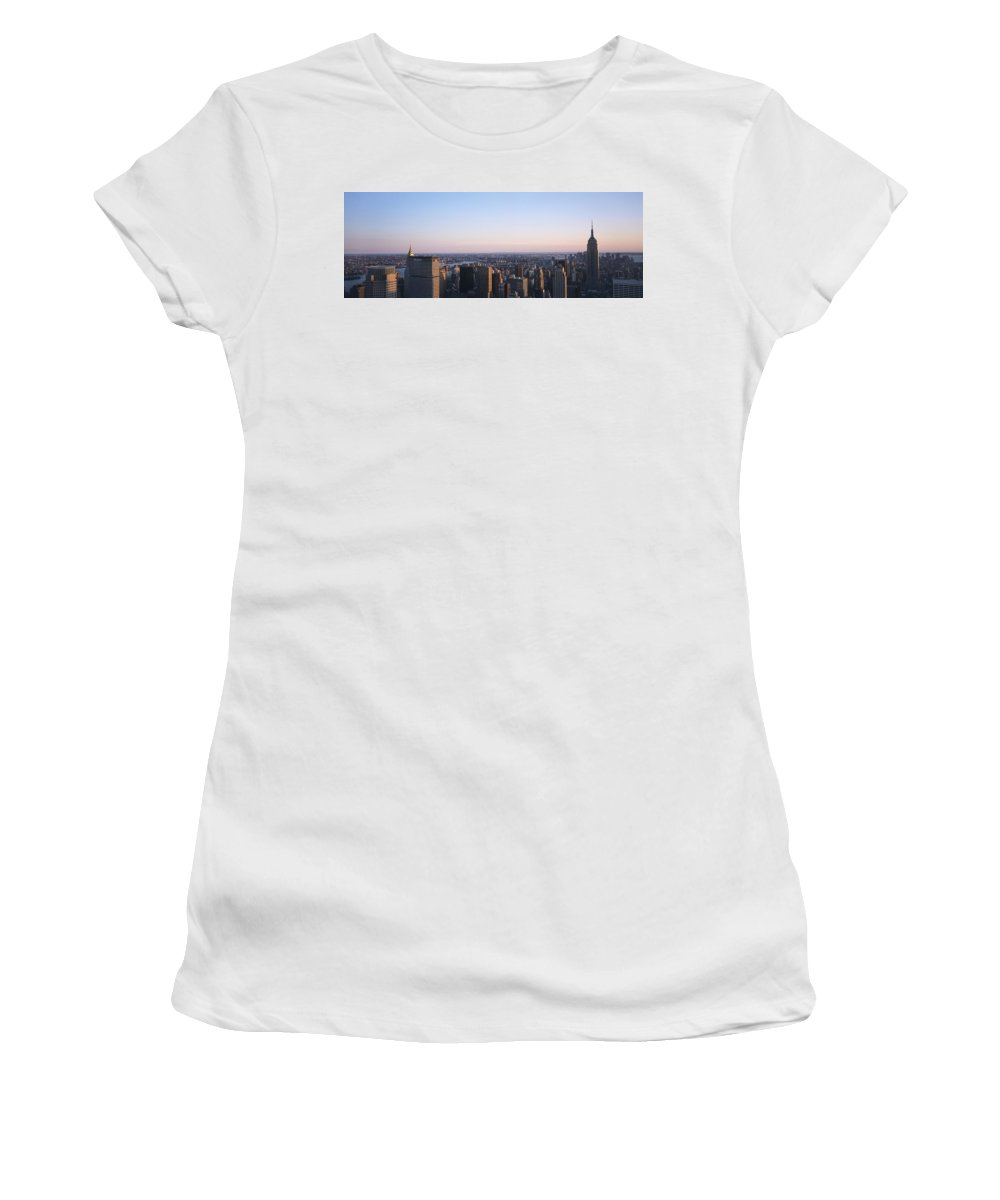 Photography Women's T-Shirt (Athletic Fit) featuring the photograph Panoramic View Of Manhattan by Axiom Photographic