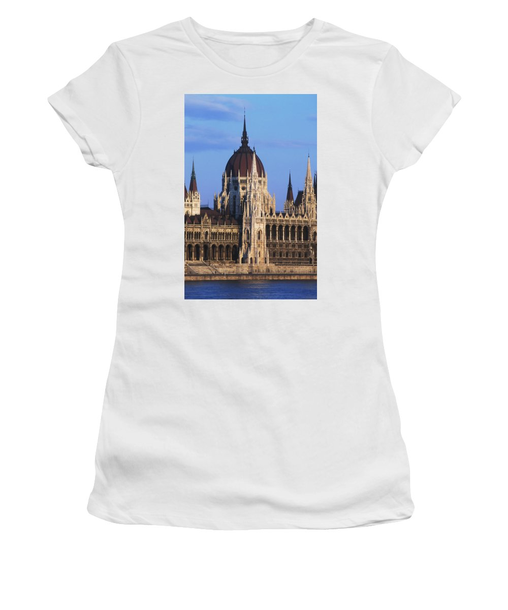 Photography Women's T-Shirt (Athletic Fit) featuring the photograph Parliament Buildings On River Danube by Axiom Photographic