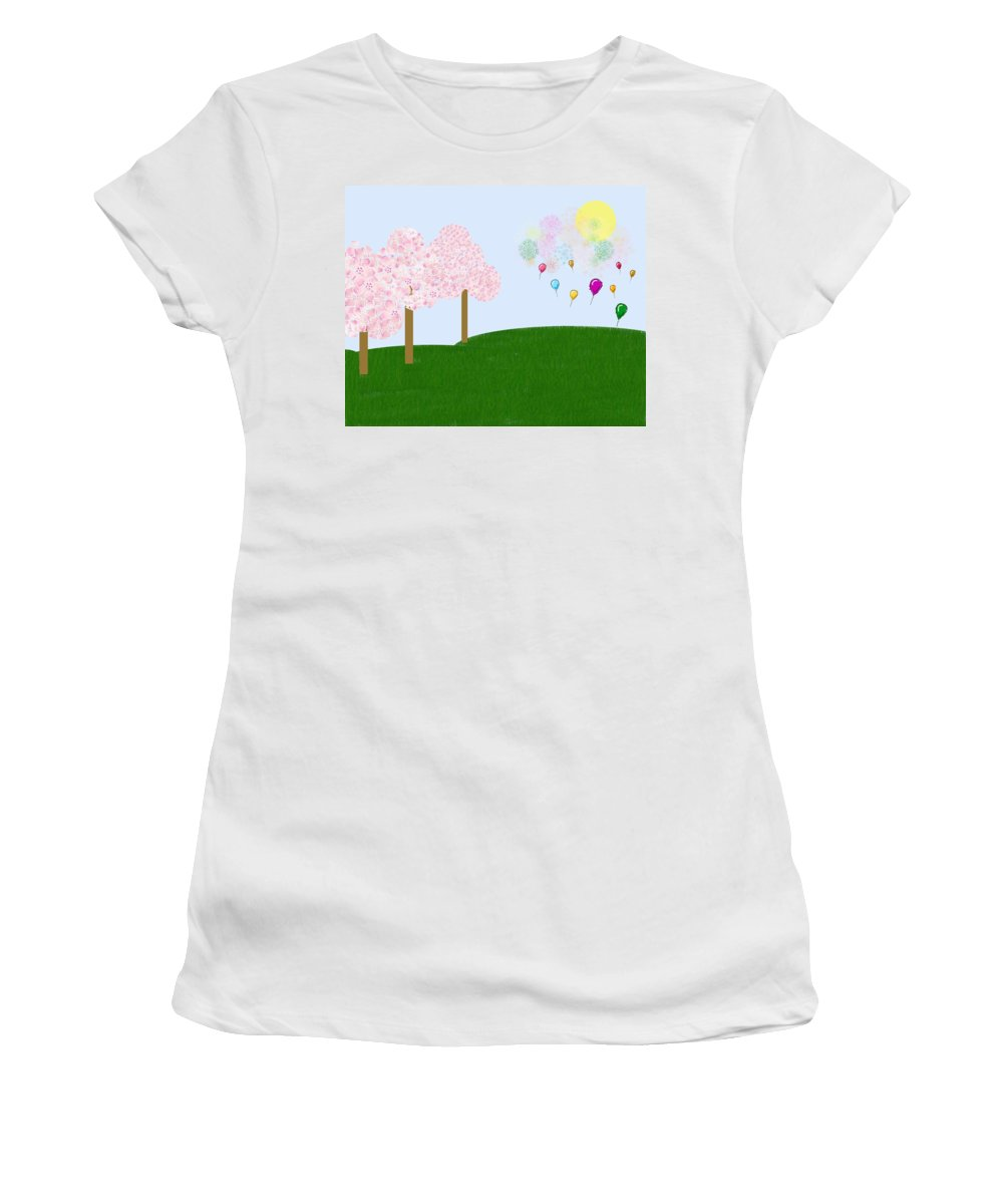 Cherry Trees Women's T-Shirt (Athletic Fit) featuring the digital art Party Over The Hill by Heidi Smith