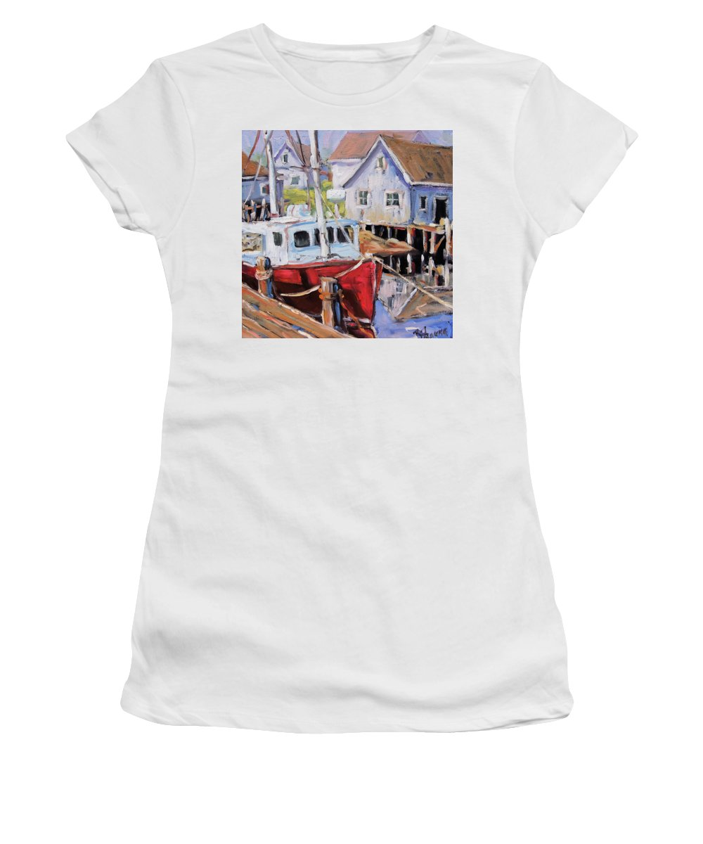 Art Women's T-Shirt featuring the painting Peggy S Cove 02 By Prankearts by Richard T Pranke