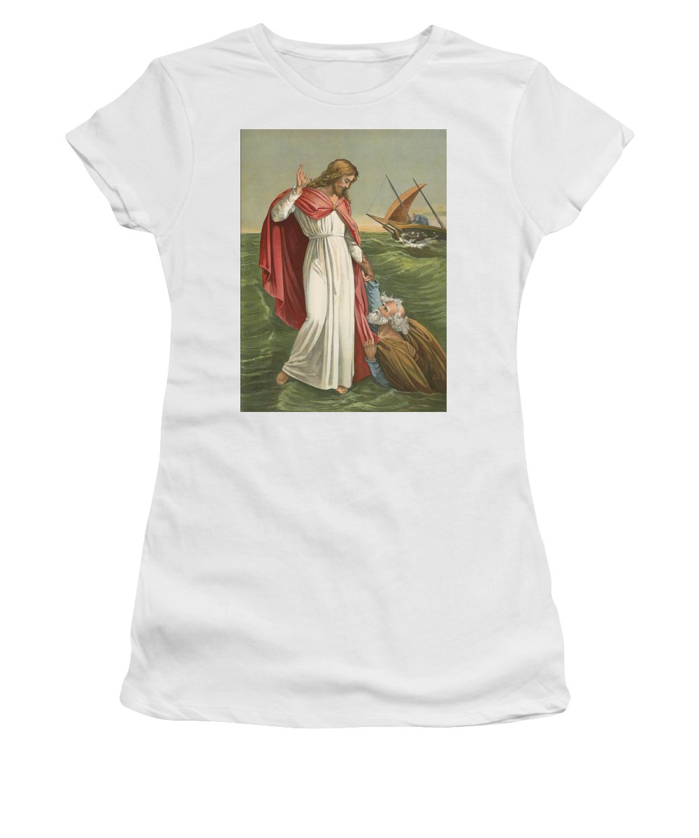 Bible; Children's; Jesus Christ; St Peter; Walking On The Water; Sea; Faith Women's T-Shirt (Athletic Fit) featuring the painting Peter Walking On The Sea by English School