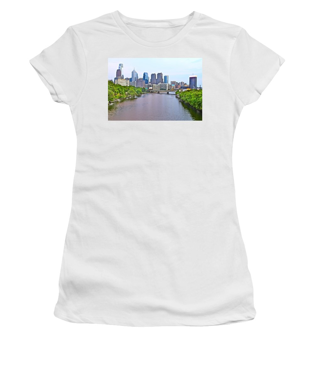 Philadelphia Waterway Water Schulykill River Philly Scenic Women's T-Shirt featuring the photograph Philly By Water by Alice Gipson