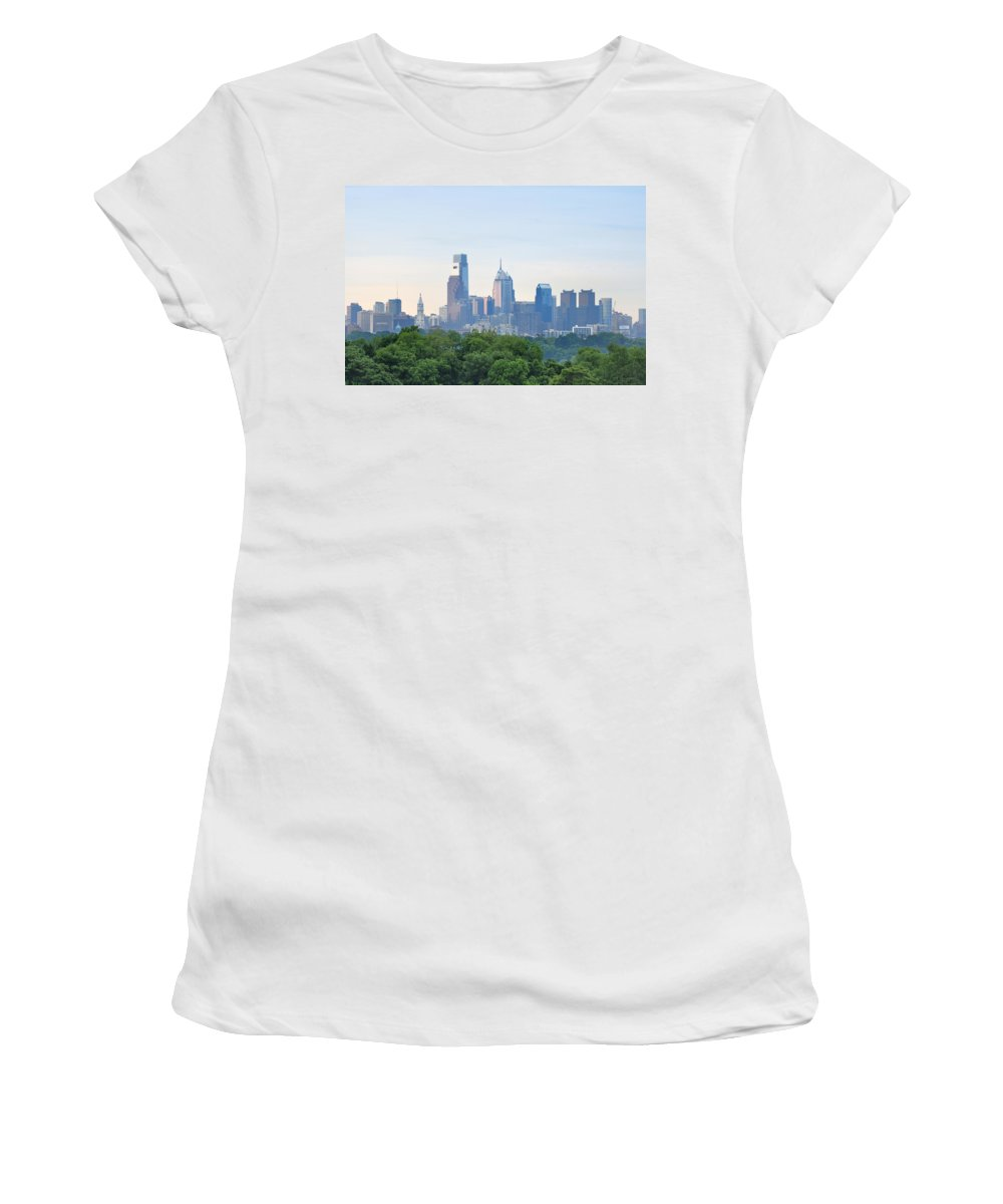 Philly Skyline Women's T-Shirt (Athletic Fit) featuring the photograph Philly Skyline by Bill Cannon