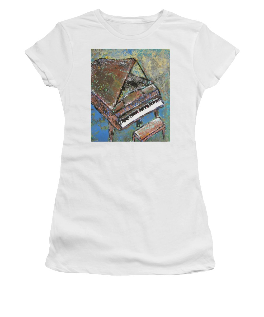 Piano Women's T-Shirt (Athletic Fit) featuring the painting Piano Study 5 by Anita Burgermeister