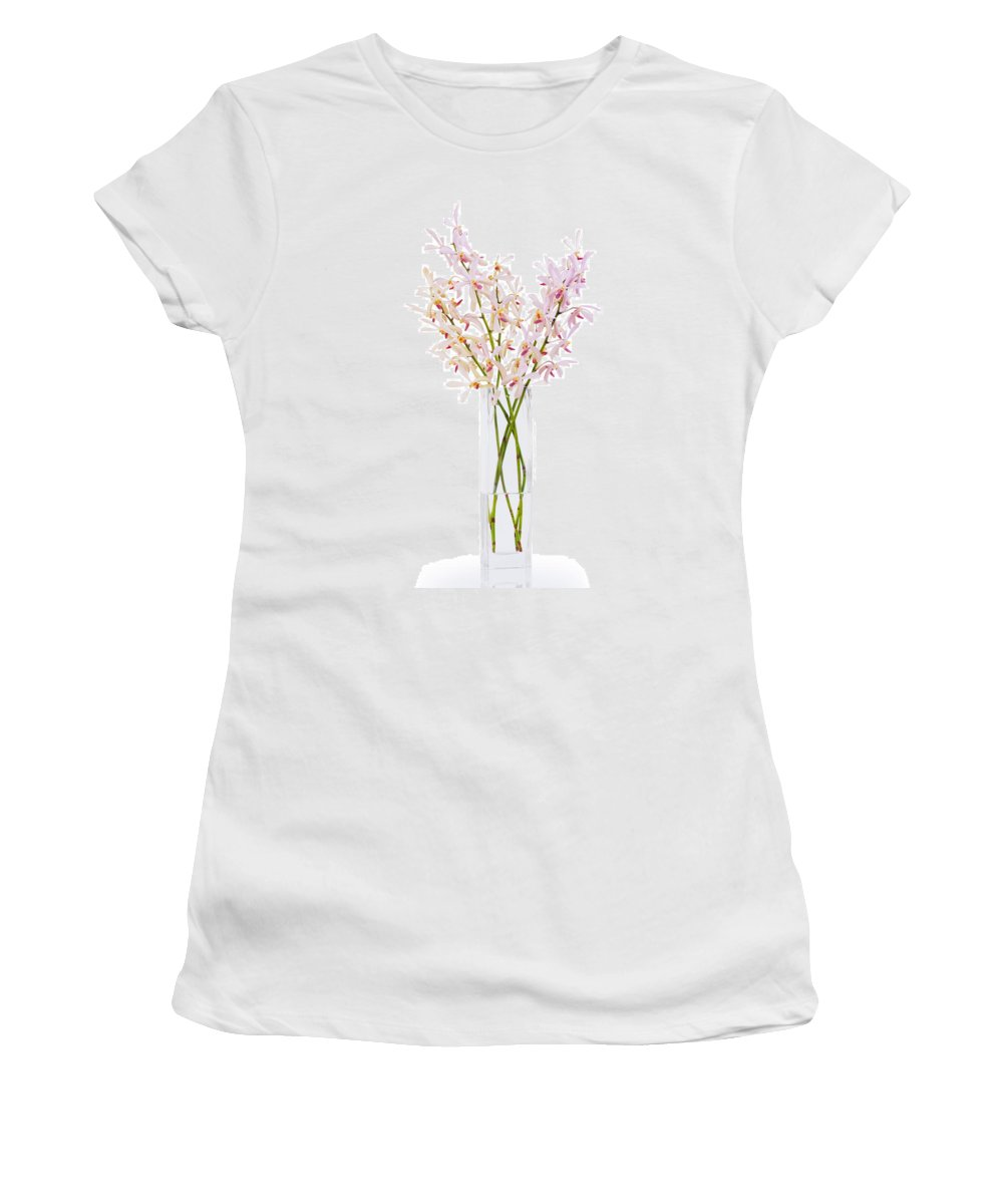 Asian Women's T-Shirt featuring the photograph Pink Orchid In Vase by Atiketta Sangasaeng