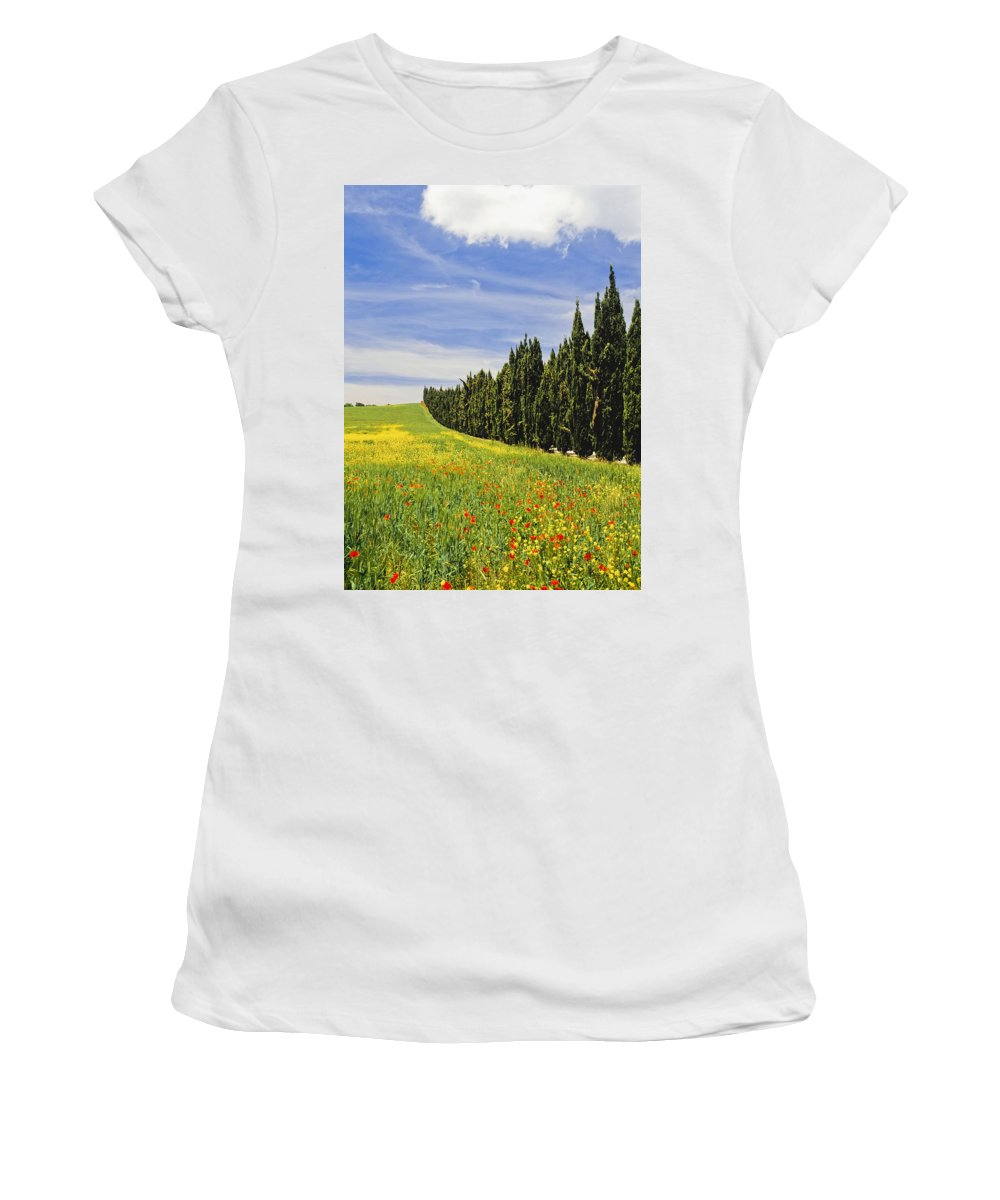 Vertical Women's T-Shirt (Athletic Fit) featuring the photograph Poppies And Wild Flowers In Wheat Field by Axiom Photographic