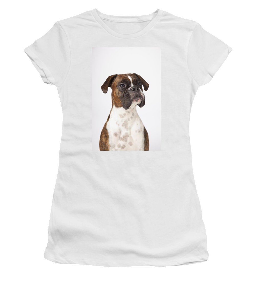 Boxer Women's T-Shirt (Athletic Fit) featuring the photograph Portrait Of Boxer Dog On White by LJM Photo