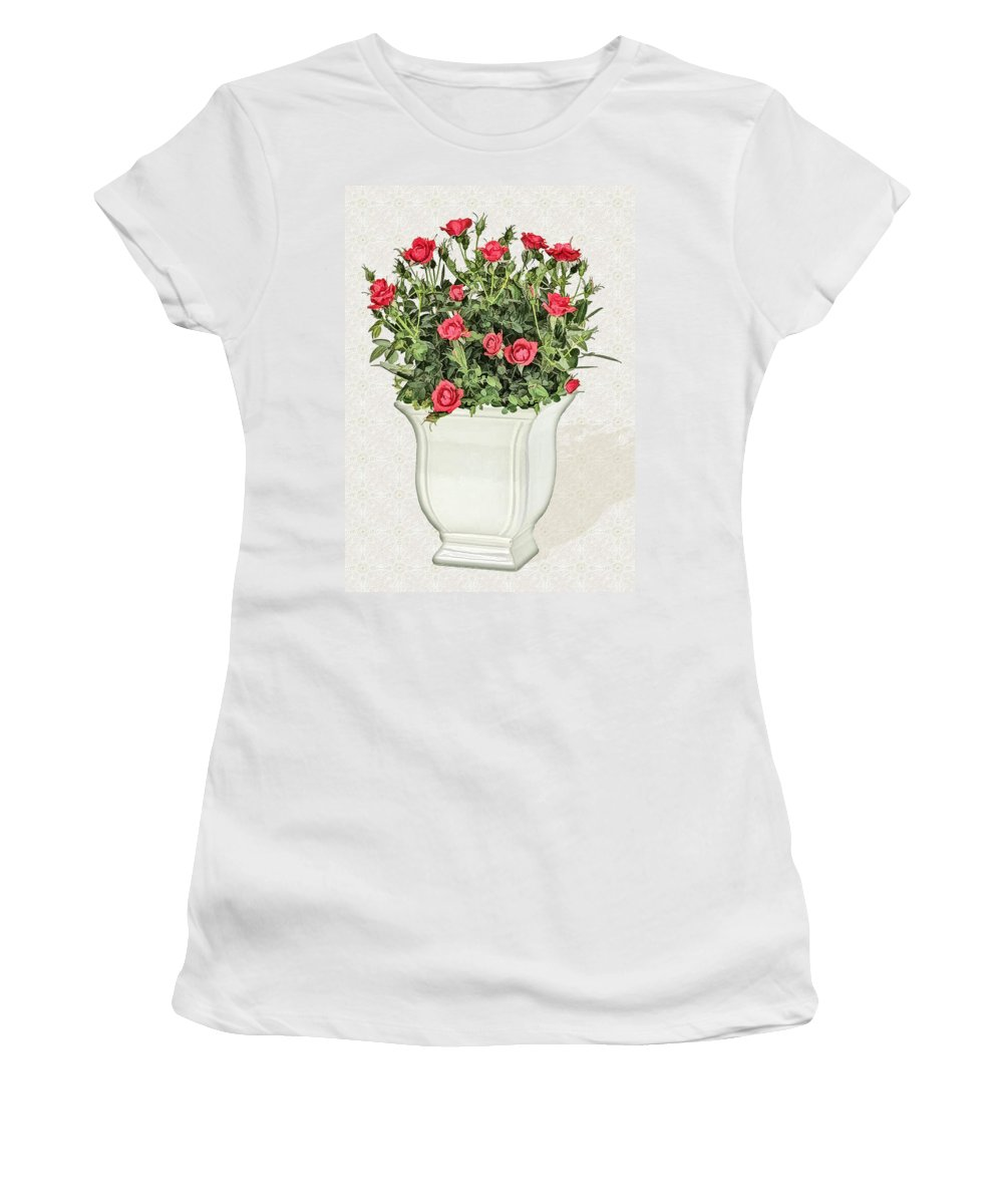 Floral Women's T-Shirt (Athletic Fit) featuring the painting Pot Of Red Roses On Lace Background by Elaine Plesser