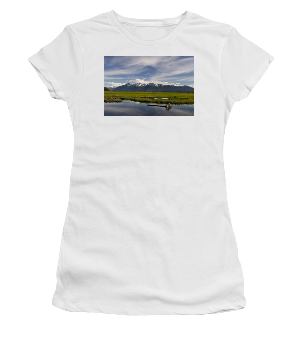 Potters Marsh Summer's Eve Women's T-Shirt (Athletic Fit) featuring the photograph Potters Marsh Summer's Eve by Wes and Dotty Weber