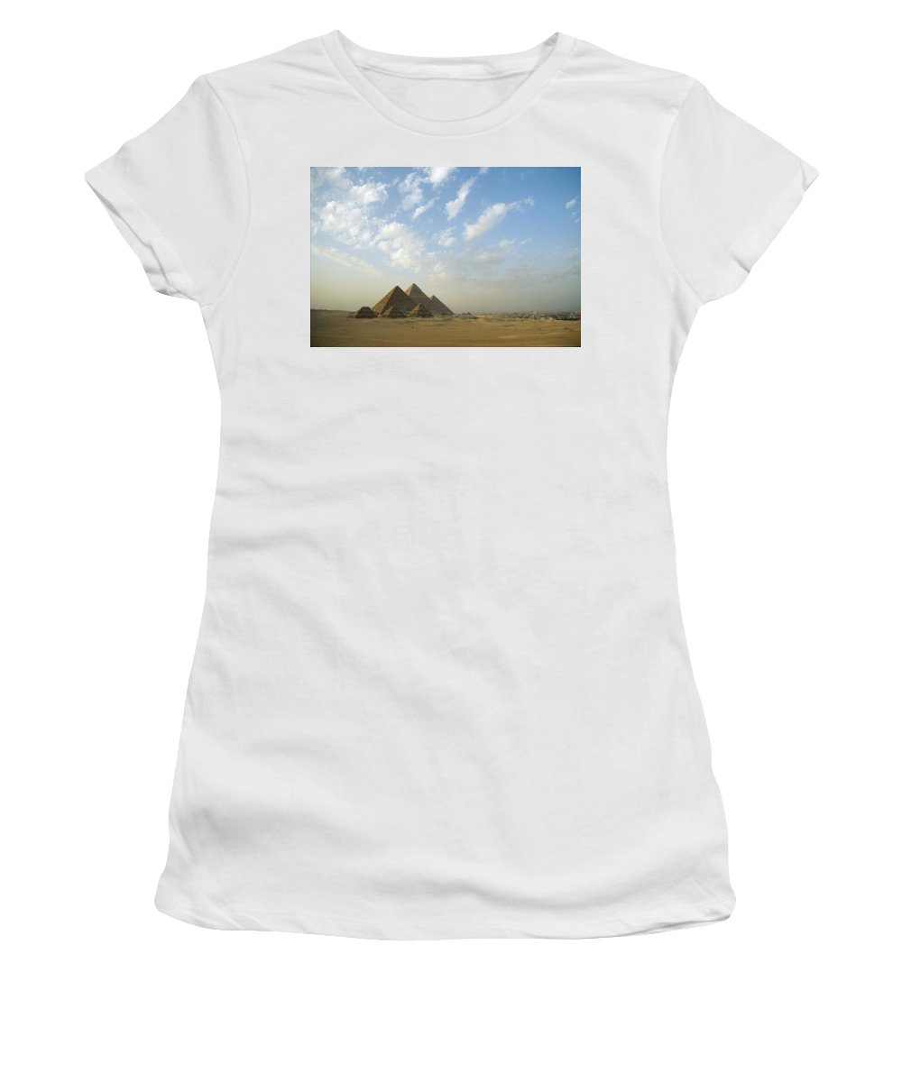 Ancient Egyptian Women's T-Shirt (Athletic Fit) featuring the photograph Pyramids,giza,egypt by Axiom Photographic