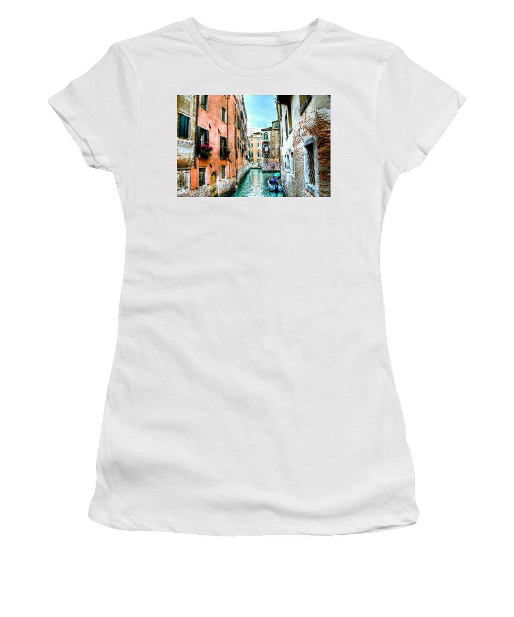Venice Canal Women's T-Shirt featuring the photograph Quiet Canal by Jon Berghoff