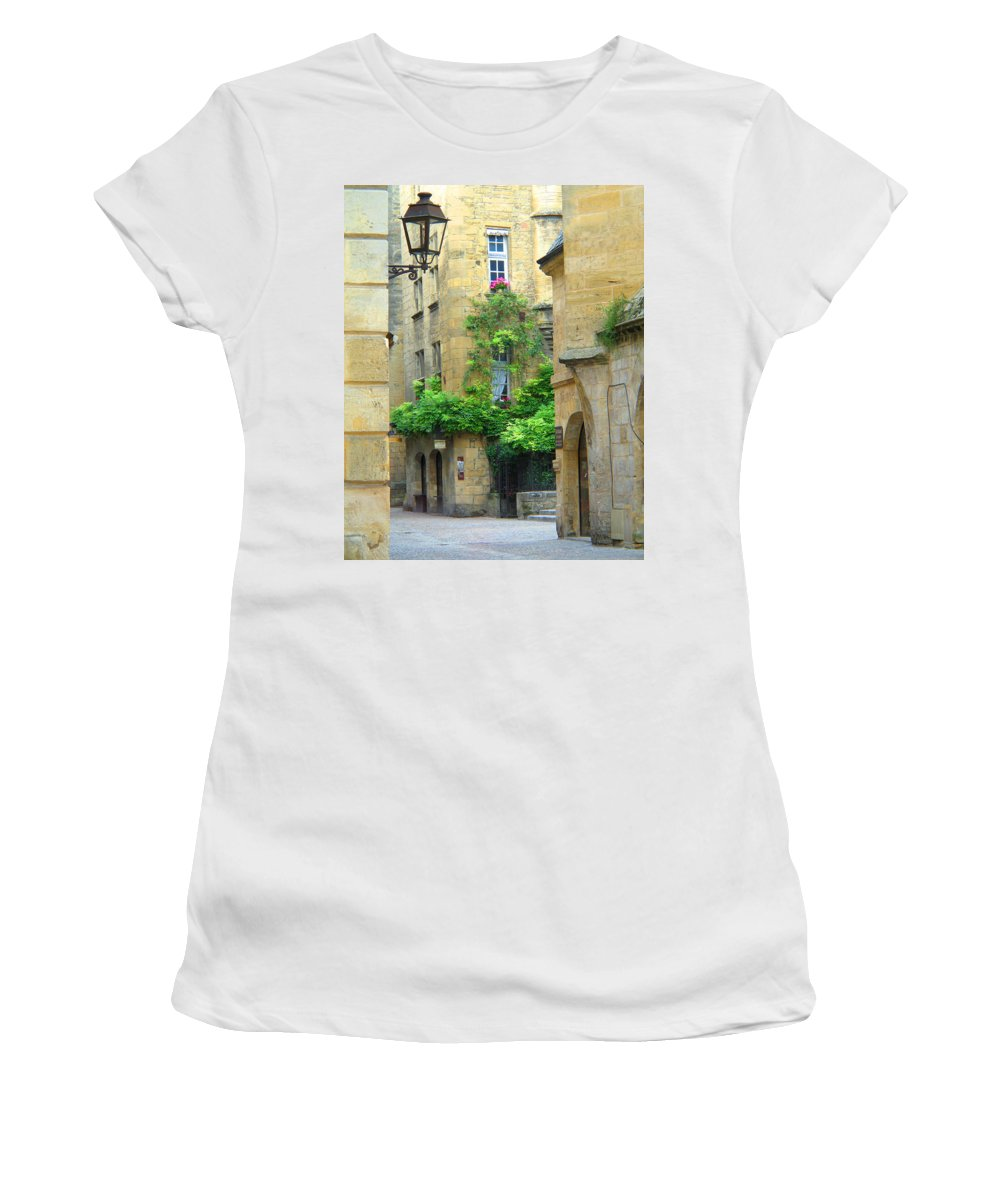 Sarlat Women's T-Shirt (Athletic Fit) featuring the photograph Quiet Street In Sarlat by Greg Matchick