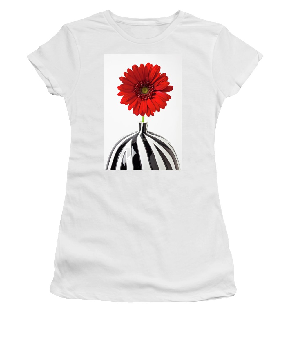 Mums Flowers Chrysanthemums Women's T-Shirt (Athletic Fit) featuring the photograph Red Mum In Striped Vase by Garry Gay