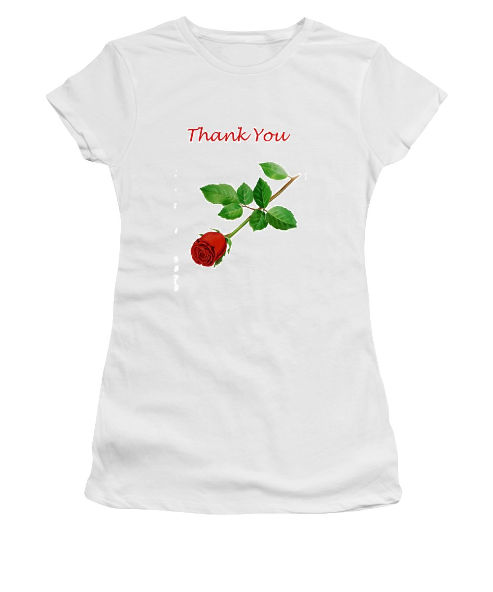 Rose Women's T-Shirt (Athletic Fit) featuring the painting Red Rose Thank You Card by Irina Sztukowski