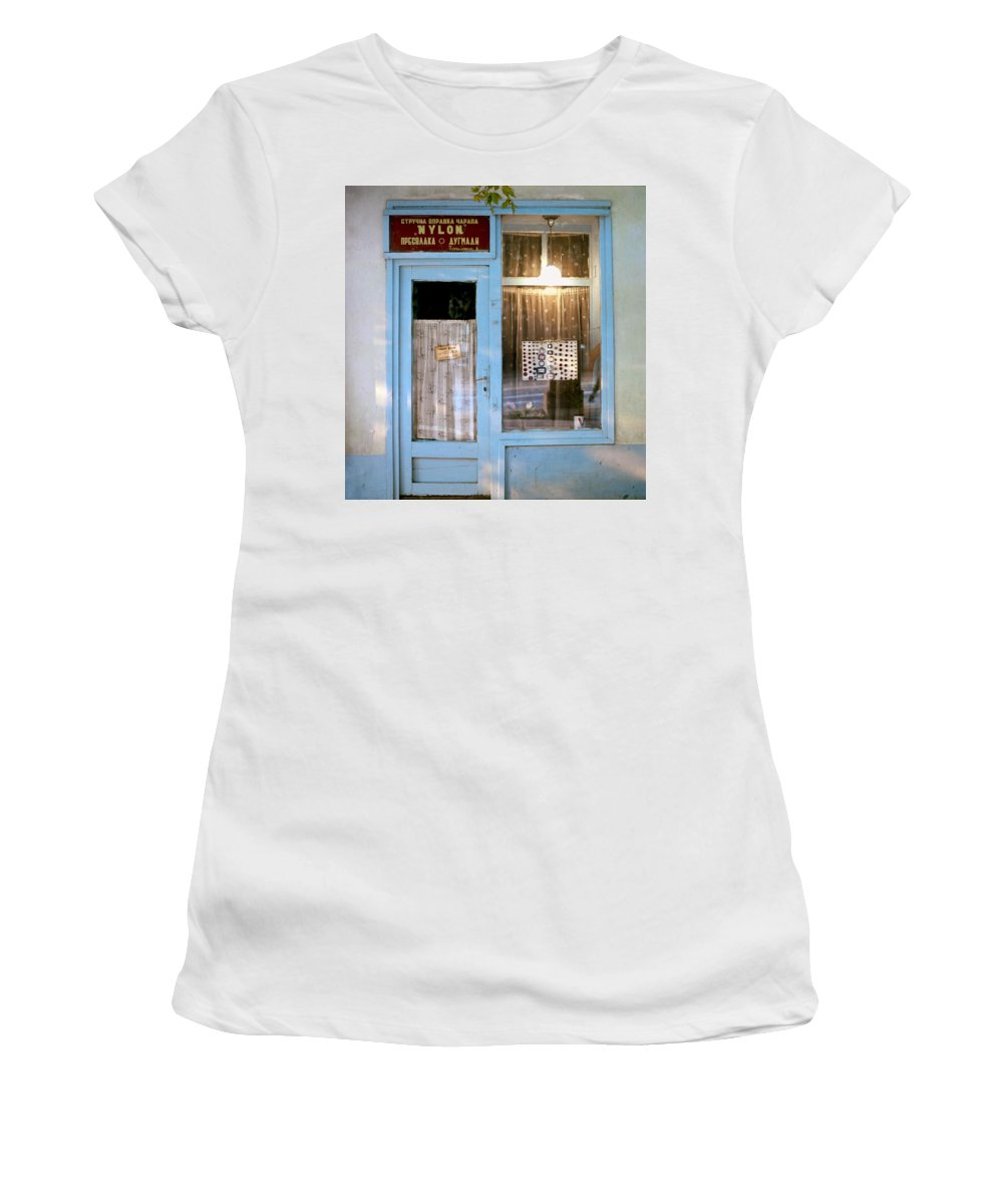 Serbia Belgrade Women's T-Shirt (Athletic Fit) featuring the photograph Repair Of Nylons. Belgrade. Serbia by Juan Carlos Ferro Duque