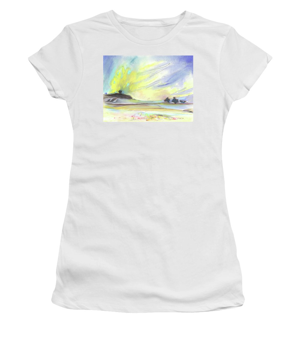 Spain Women's T-Shirt (Athletic Fit) featuring the painting Ribera Del Duero In Spain 07 by Miki De Goodaboom
