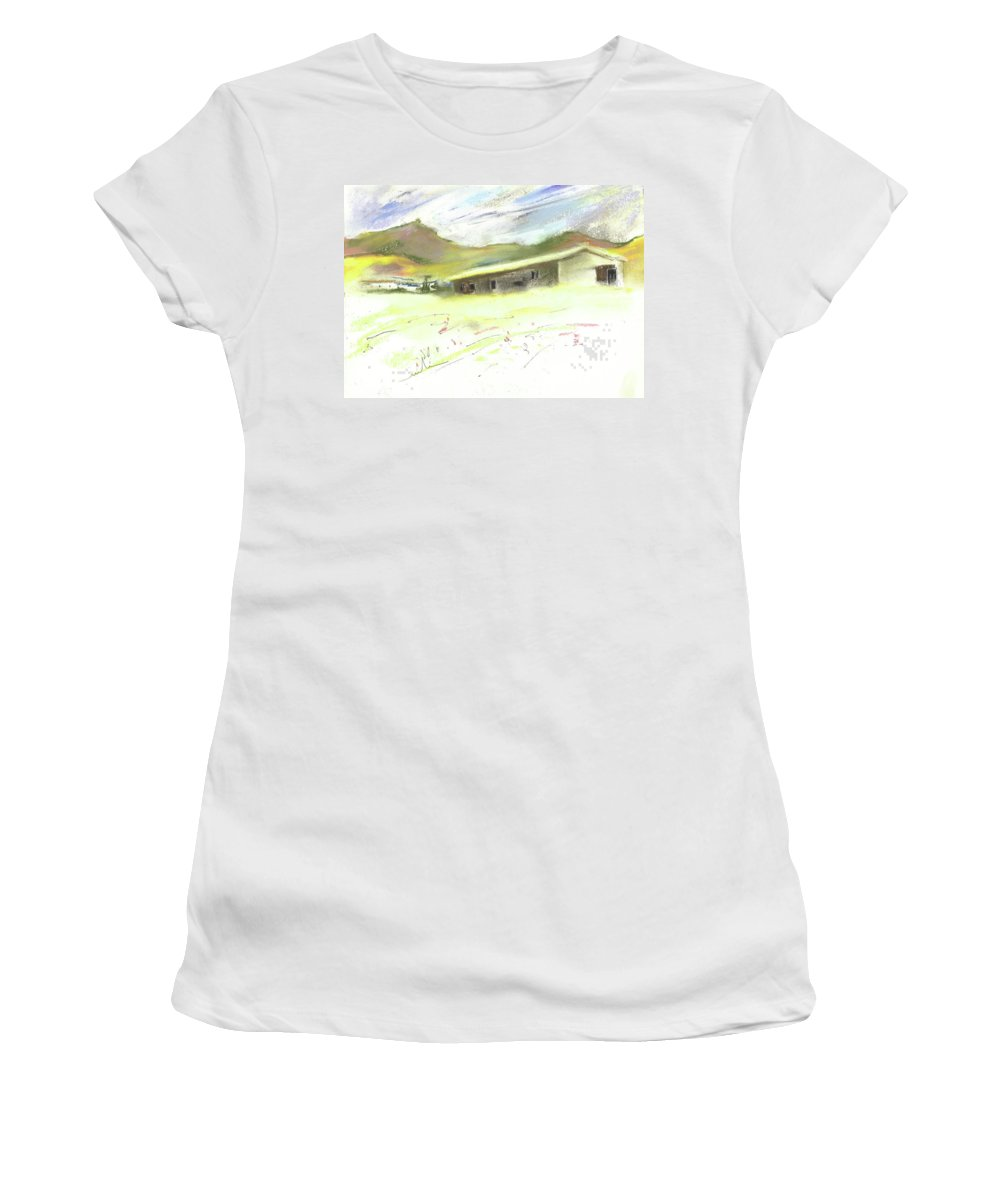 Spain Women's T-Shirt (Athletic Fit) featuring the painting Ribera Del Duero In Spain 15 by Miki De Goodaboom