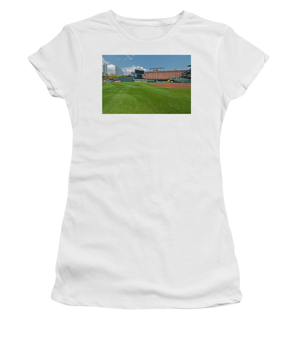 oriole Park Women's T-Shirt (Athletic Fit) featuring the Right Field At Oriole Park At Camden Yard by Paul Mangold