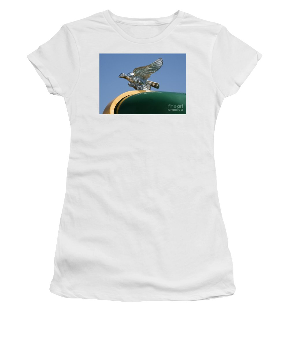 Hood Women's T-Shirt (Athletic Fit) featuring the photograph Roadrunner Hood Ornament by Darleen Stry