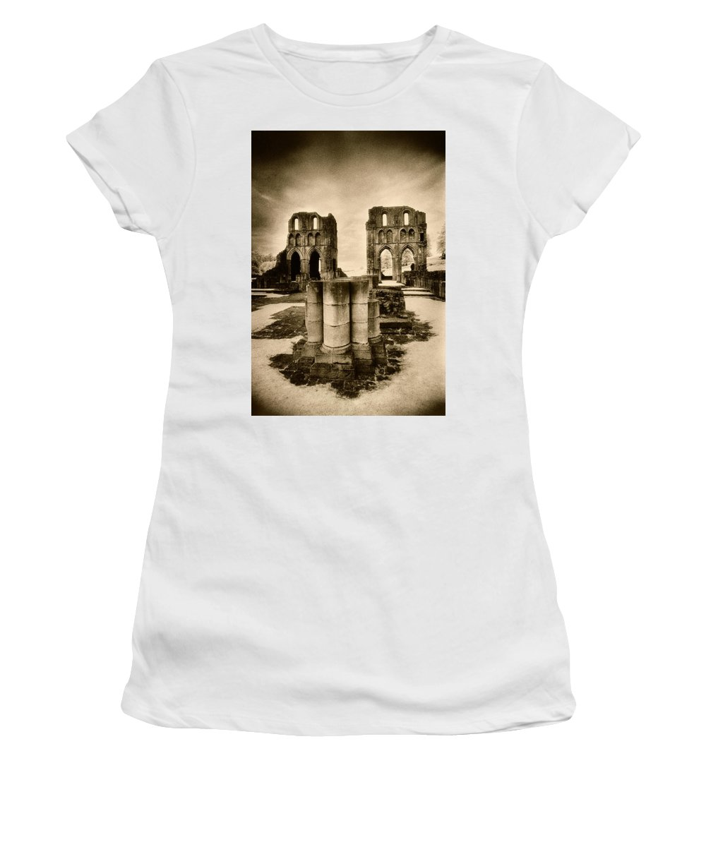Halloween Women's T-Shirt (Athletic Fit) featuring the photograph Roche Abbey by Simon Marsden