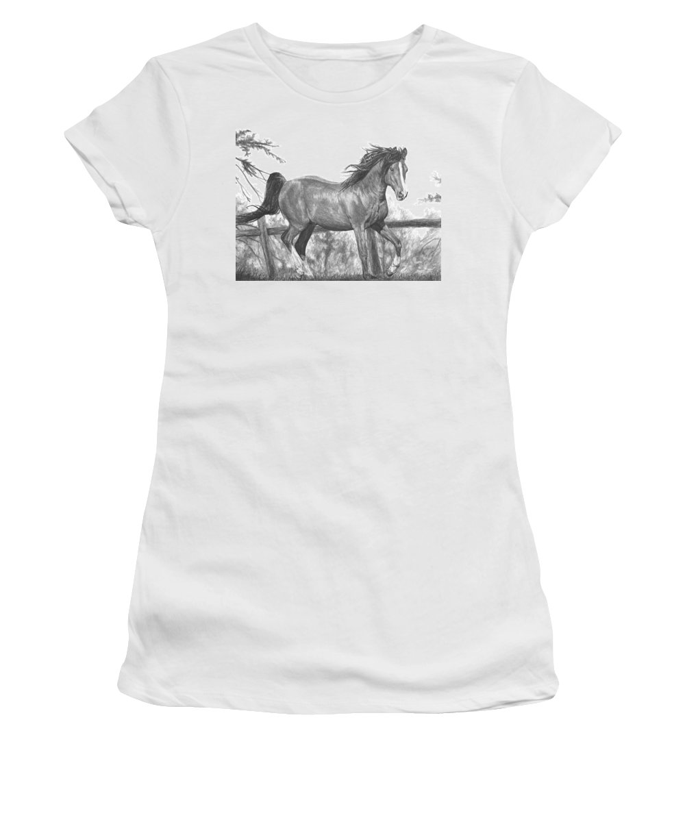 Horse Women's T-Shirt (Athletic Fit) featuring the drawing Running Horse by Bobby Shaw