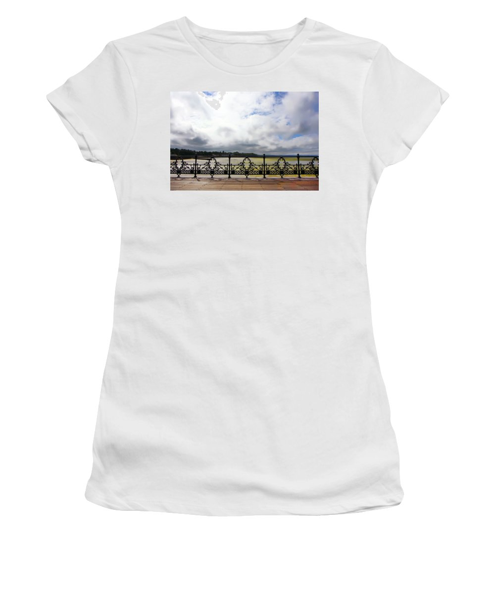 Kg Women's T-Shirt (Athletic Fit) featuring the photograph Ryde On The Solent Boardwalk by KG Thienemann
