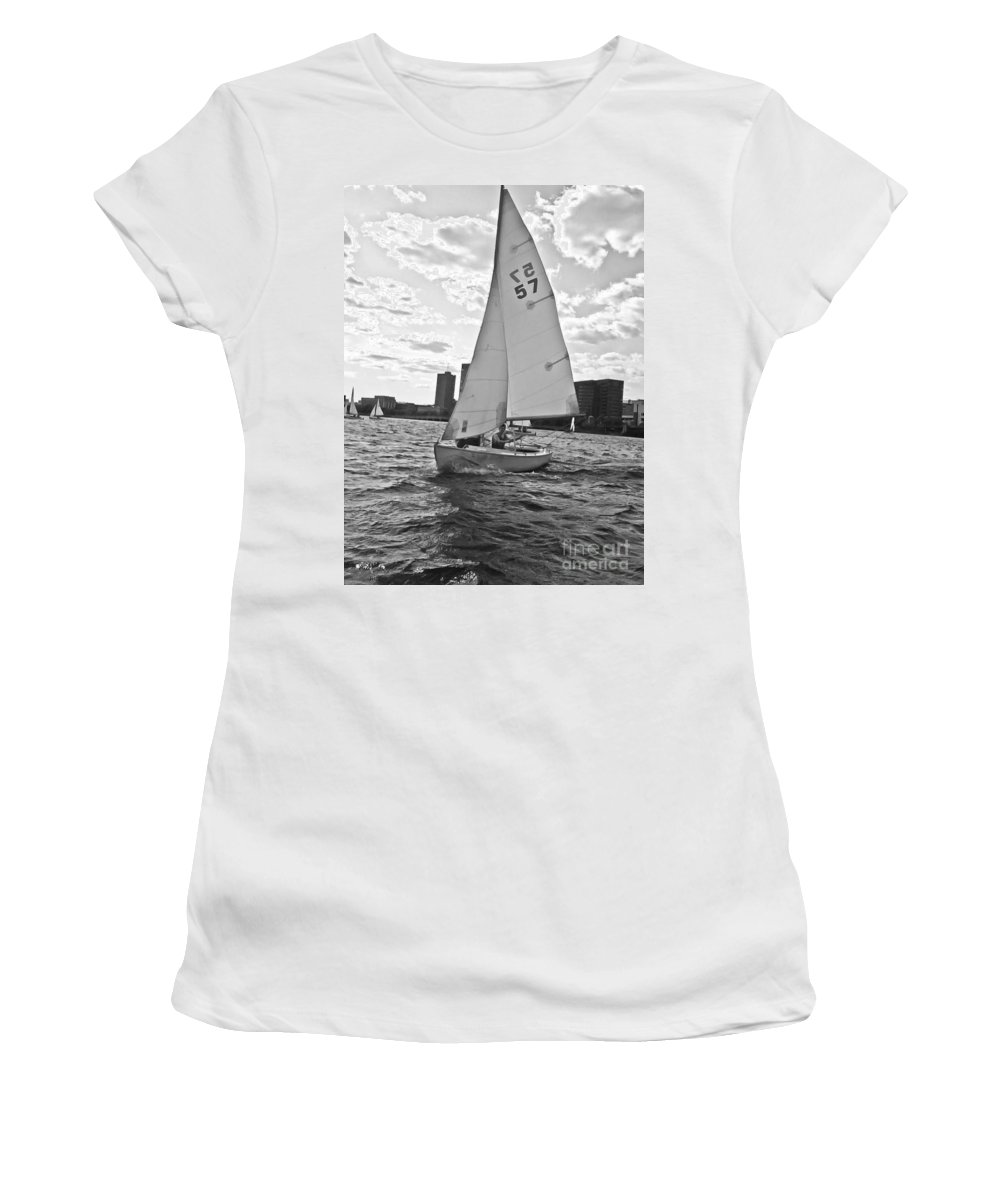 Sailing Women's T-Shirt (Athletic Fit) featuring the photograph Sailing On The Charles by Scott Hervieux