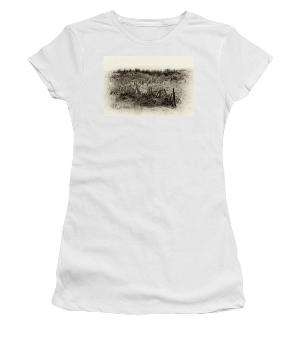 Sand Dune In Sepia Women's T-Shirt (Athletic Fit) featuring the photograph Sand Dune In Sepia by Bill Cannon