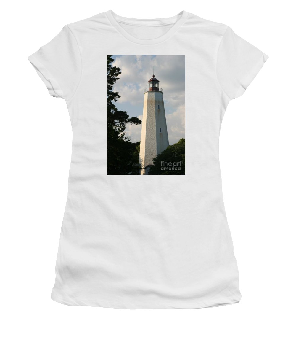 Sandy Hook Women's T-Shirt (Athletic Fit) featuring the photograph Sandy Hook Lighthouse by Living Color Photography Lorraine Lynch