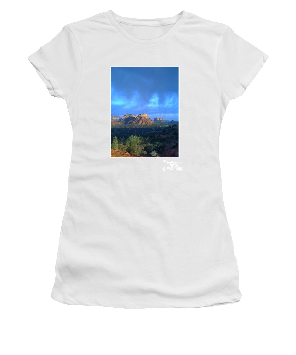 Sedona Clouds Women's T-Shirt (Athletic Fit) featuring the photograph Sedona Clouds by Nina Prommer