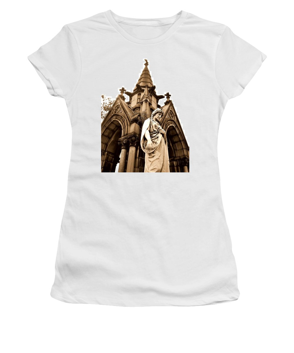 Forest Lawn Cemetery Women's T-Shirt (Athletic Fit) featuring the photograph Sepia - Forrest Lawn Cemetery - Buffalo New York by J Vincent Scarpace