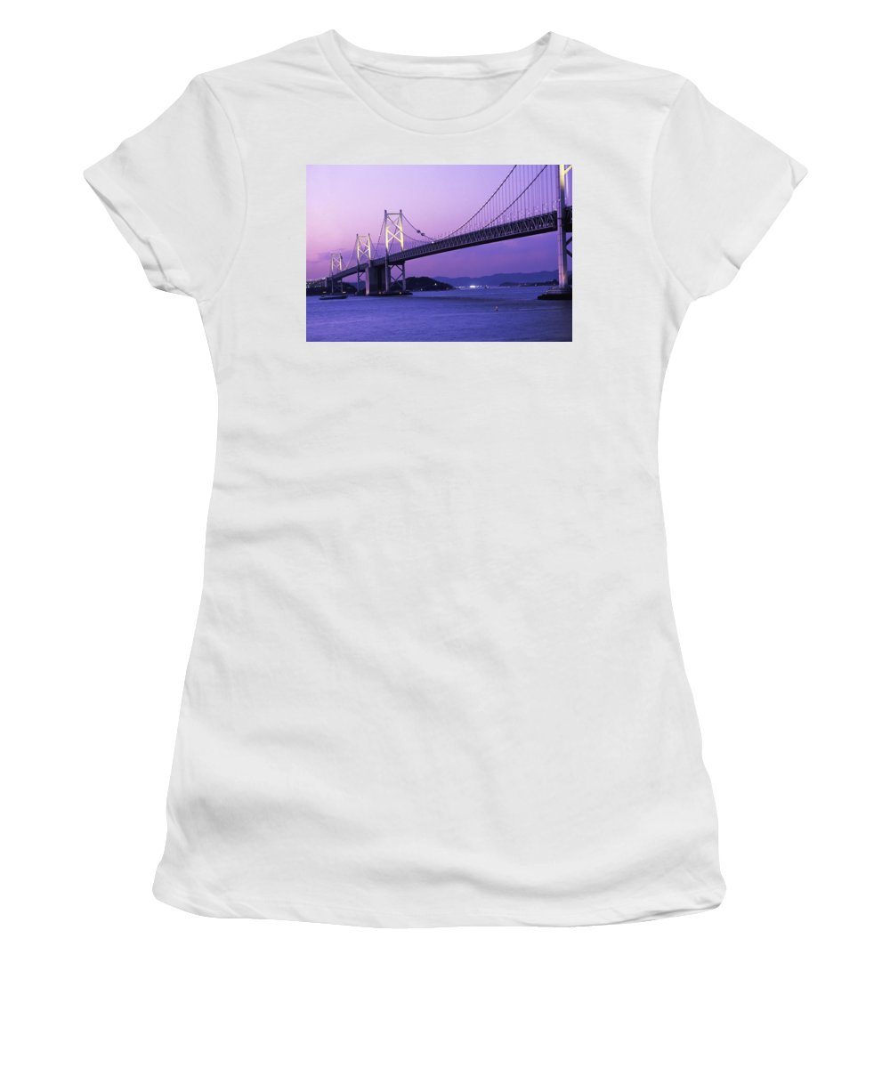 Suspension Bridge Women's T-Shirt (Athletic Fit) featuring the photograph Seto Ohashi Bridge At Dusk by Axiom Photographic