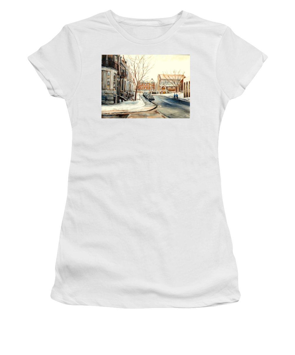 Montreal Women's T-Shirt (Athletic Fit) featuring the painting Shaar Hashomayim Westmount Montreal by Carole Spandau