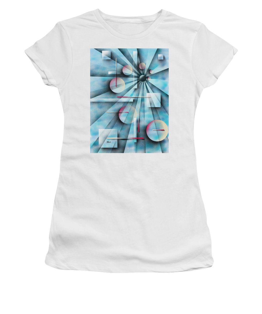 Digital Women's T-Shirt (Athletic Fit) featuring the painting Shades Of Fibonacci by Hakon Soreide