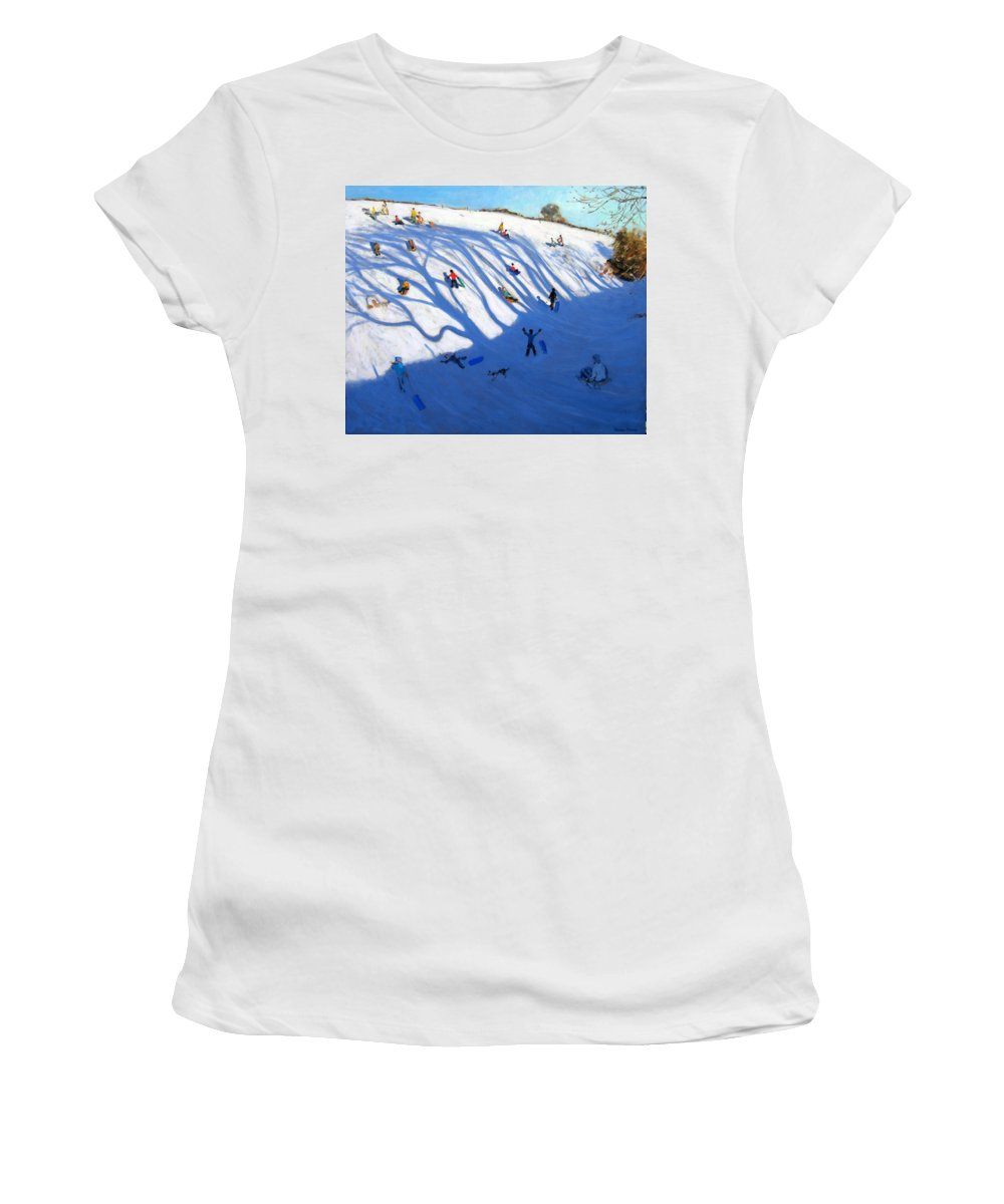 Sledge Women's T-Shirt (Athletic Fit) featuring the painting Shandows On A Hill Monyash by Andrew Macara
