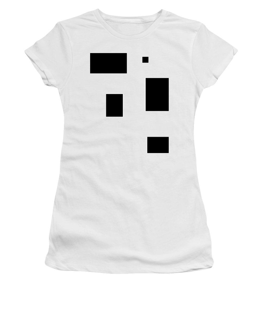 Black White Abstract Block Blocks Contrast Expressionism Impressionism Art Women's T-Shirt (Athletic Fit) featuring the digital art Simply Black Blocks Sbb by Steve K
