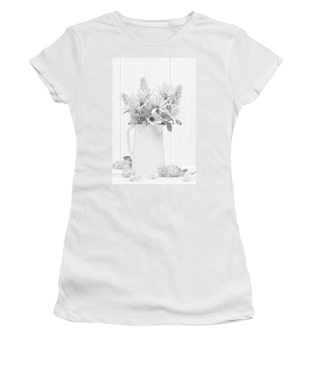 Vase Women's T-Shirt (Athletic Fit) featuring the photograph Sketched Vase Of Flowers by Amanda Elwell