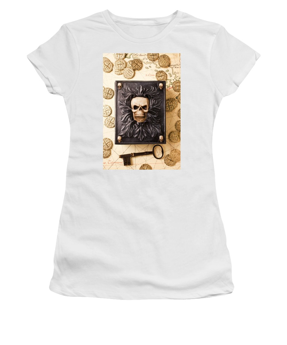 Skull Box Women's T-Shirt featuring the photograph Skull Box With Skeleton Key by Garry Gay