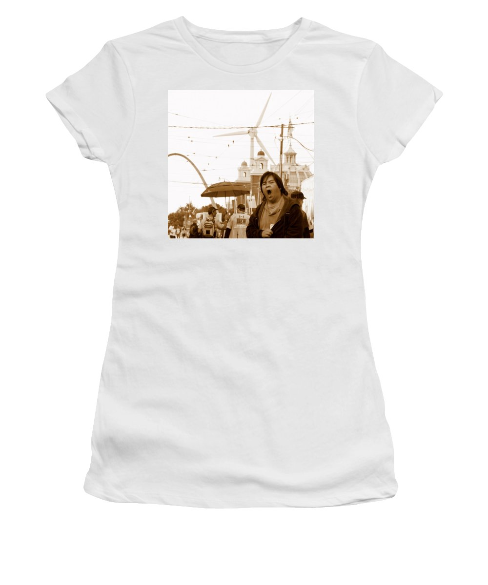 Sleep Women's T-Shirt featuring the photograph Sleepy At The Fair by Valentino Visentini