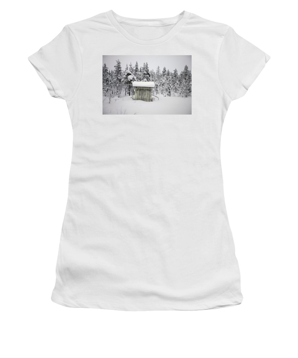 Photography Women's T-Shirt (Athletic Fit) featuring the photograph Snow Covered Cabin By Forest by Axiom Photographic
