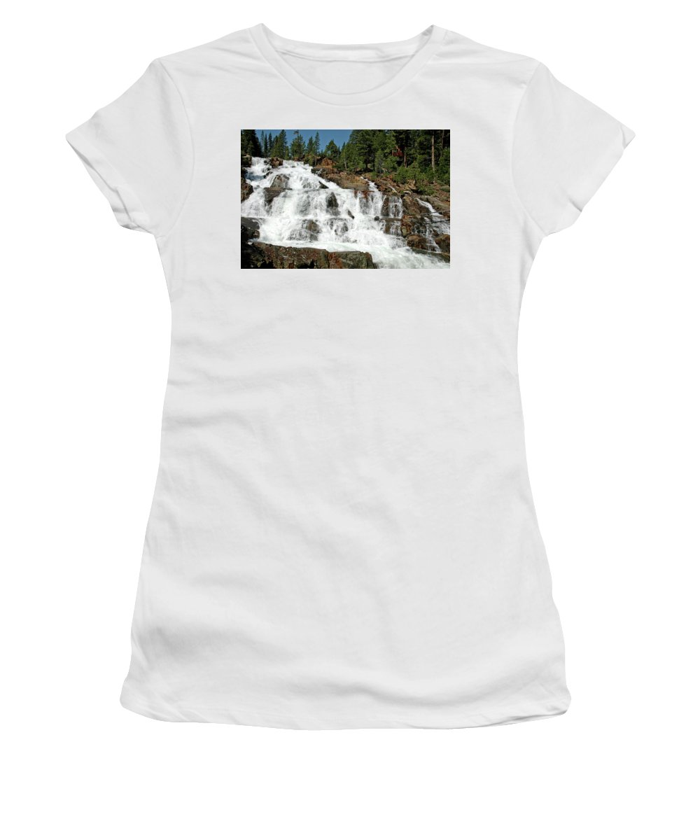 Usa Women's T-Shirt (Athletic Fit) featuring the photograph Snow Melt Glen Alpine Falls by LeeAnn McLaneGoetz McLaneGoetzStudioLLCcom