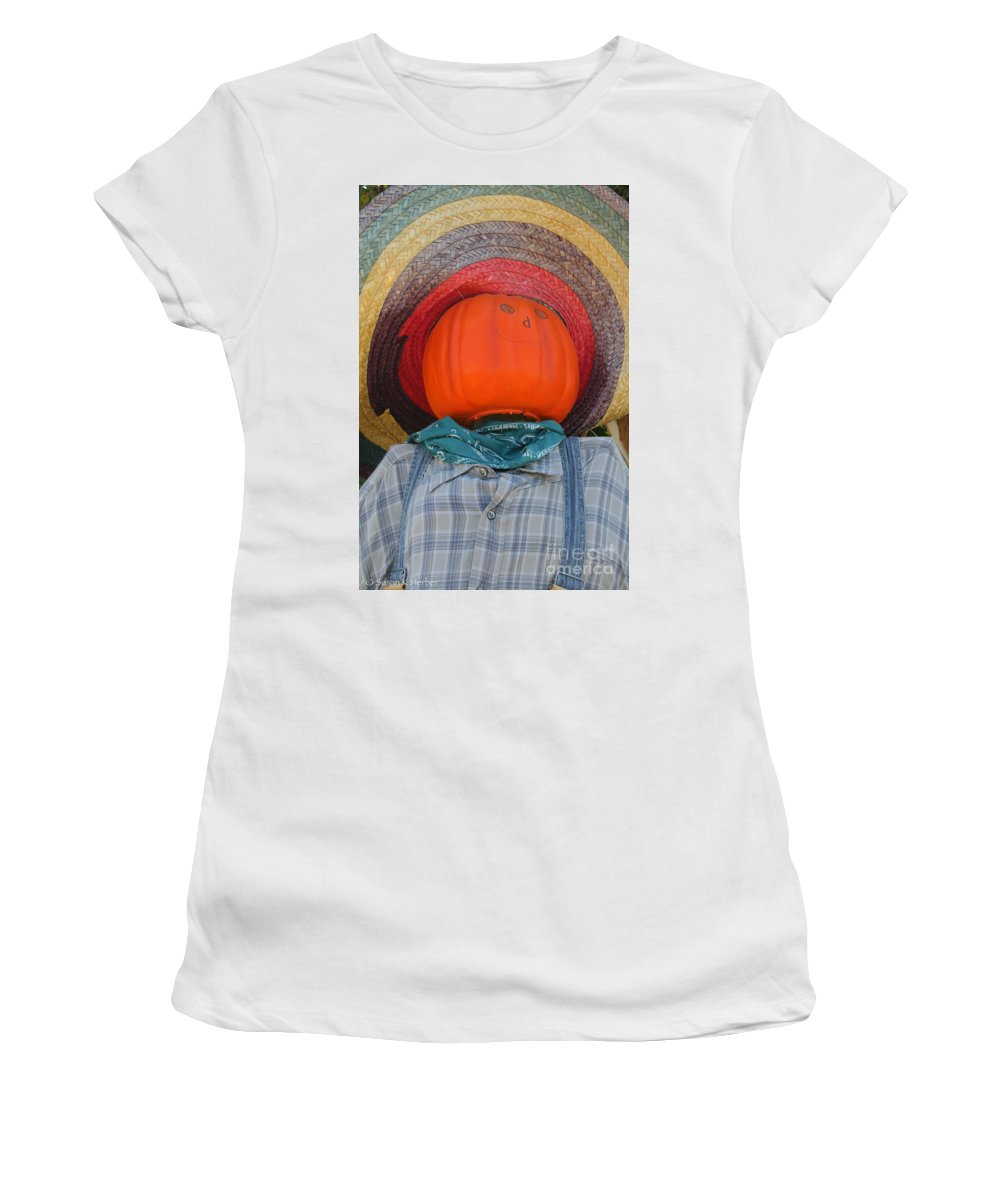 Outdoors Women's T-Shirt (Athletic Fit) featuring the photograph Sombrero Scarecrow by Susan Herber