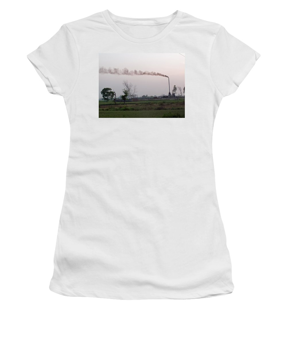 Smoke Women's T-Shirt (Athletic Fit) featuring the photograph Spewing Smoke And Pollution Into A Green Rural Environment by Ashish Agarwal